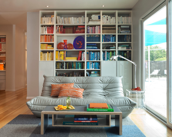 Extraordinary Ikea Bookshelves With Glass Doors : Colorful Mid Century Modern Living Room Bookcases And The Funky Couch