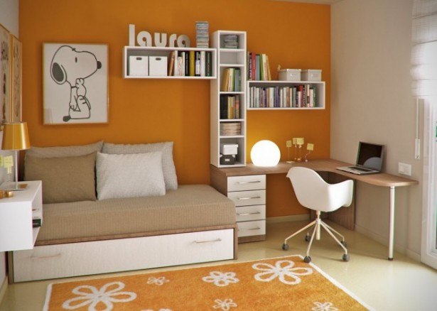 Splendid Modern Workspace Inside Your House: Colorful Room And Great Flooring Design Ideas And Orange And White Young Childs Workspace Design Ideas ~ stevenwardhair.com Office & Workspace Design Inspiration