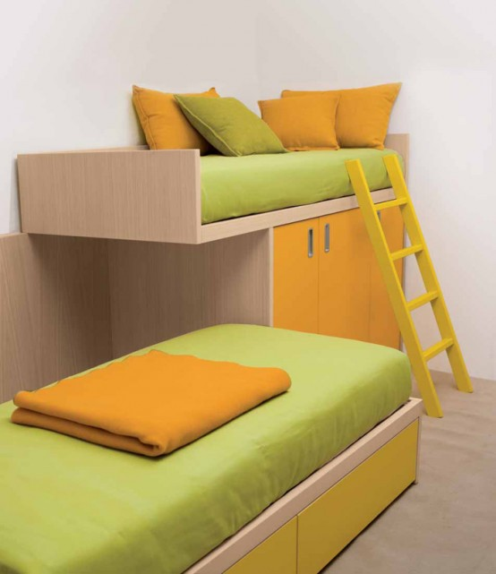 Calm and Ergonomic Bedroom Ideas for Kids: Comfortable And Ergonomic Bedroom Ideas For Two Children With Custom Two Stories Bed