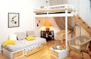 Furniture Ideas For Small Bedroom Design : Comfortable Bed With Drawers And Chill Out Space Under The Loft Bed With Rattan Armchairs Is A Bedroom Furniture For Cozy Wooden Floor Small Bedroom Ideas
