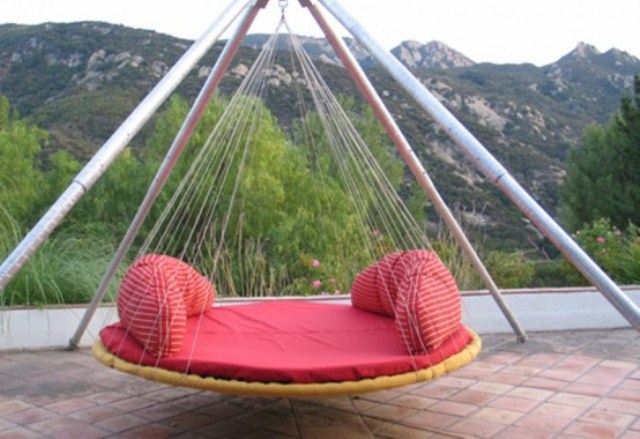 Breathtaking Relaxing Outdoor Hanging Bed Design Ideas : Comfortable Bright Dashing Red Outdoor Round Hanging Bed Bed Canopy Simple Bedding Astonishing Panoramic Mountain View Outdoor Furniture
