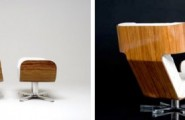 The Most Comfortable Lounge Chairs In The World : Comfortable Stalish Wing Chair Made From Wood And Plastic