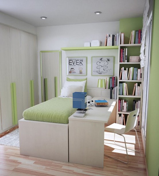 Modest Thoughtful Teenage Bedroom Design : Compact Peaceful Extraordinary Lime Green Teen Room Layout With Highcgren Bed With Matching Green Colored Wall Wood Cabinet Wooden Floor And Study Desk With Chair