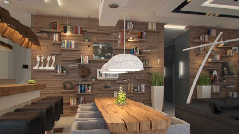 Inspiring Studio Apartment For City Living : Contemporary Apartment For Living And Studio Purposes Bowl Pendant Lamps Nice Wooden Wall Bars Cool Studio Apartment Rustic Wood Design Dining Table
