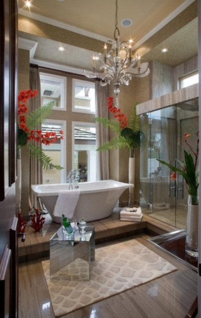 Unique Art And Stylish Bathrooms Storage Solutions Design: Contemporary Art And Stylish Bathrooms Unique Mirror As Decoration Bold Green Plants Wallpaper On Oneside Clean Windows Bright And Nice Curtain And Pendant