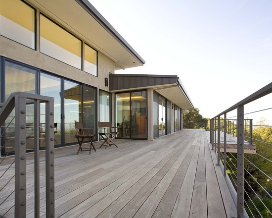 Interesting Photos of Wood Decks: Contemporary Back Deck Grey Weathered Look With Railing Fence