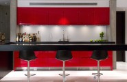 Extraordinary Floating Breakfast Bar : Contemporary Basement Cantilevered Floating Breakfast Bar Red Color And Black Bar Stools