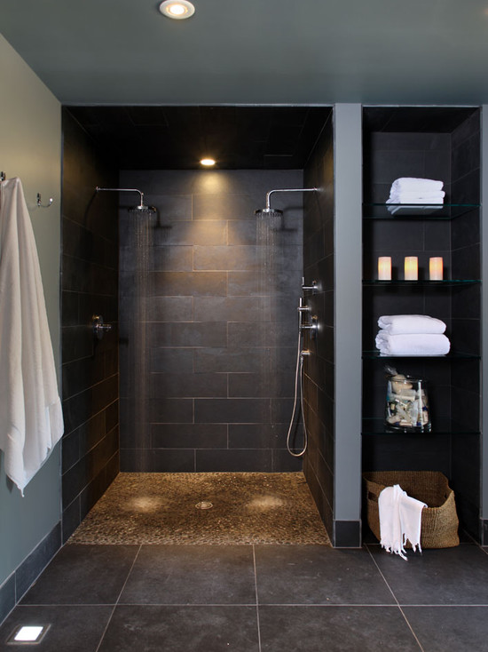 Various Dual Shower Designs: Contemporary Bathroom Basement Double Shower Heads With Pebble Base And Storage Shelves