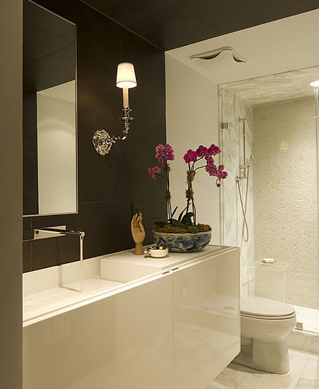 Elegance Dark Brown Paint Colors : Contemporary Bathroom Dark Brown Paint Colors Of The Walls Version Of Dark Brown And Crisp White In The Bathroom