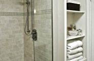 Exciting Custom Linen Cabinet With Hamper : Contemporary Bathroom Shower Made With Glass Tiles And Linen Cabinet With Hamper