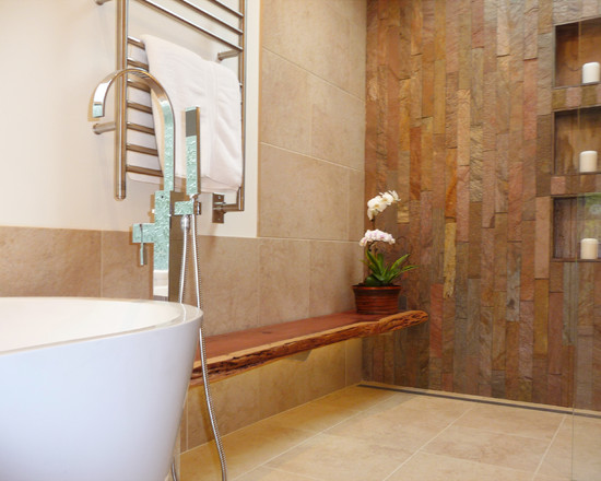 Marvellous Wood Slab Benches : Contemporary Bathroom The Wood Bench Is A Slab Of Reclaimed Redwood Cladding Curbless Shower And Split Face Wall Tile Mix