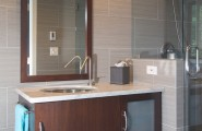 Use Large Bathroom Tiles : Contemporary Bathroom With Carrera Marble Large Tiles At Small Bathroom