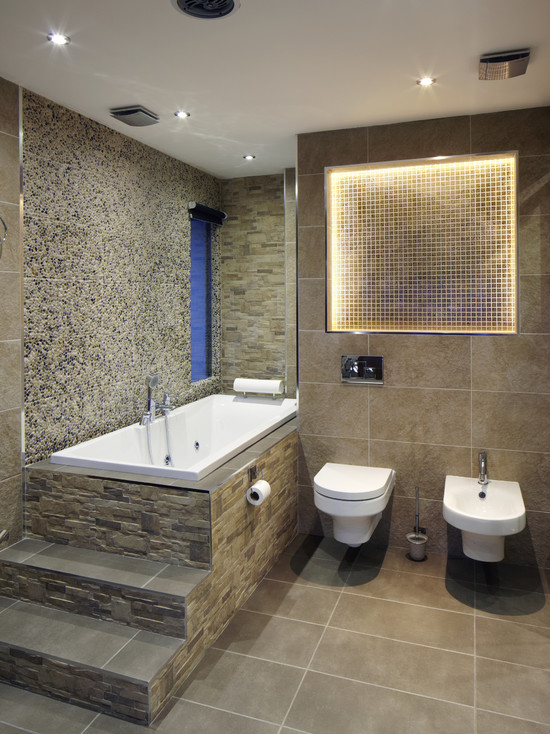 Excellent Bathroom With Toilet And Bidet Combination : Contemporary Bathroom With Recessed Wall Tiles Combination And Mount Toilet And Bidet Combination Plus Tub Can Be Accessed By Sitting And Simply Swinging Ones Leg Over Side
