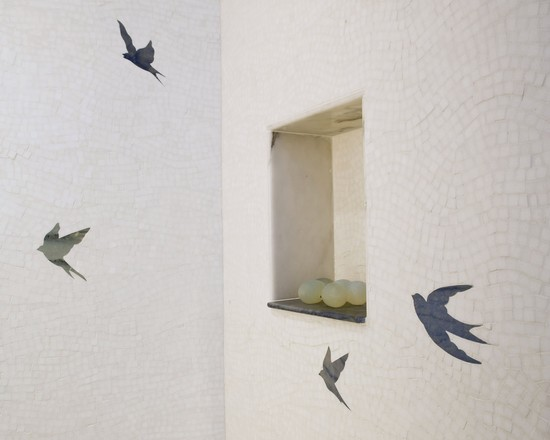 All Kinds of Cool Birdhouse Designs And Wallpaper: Contemporary Bathroom With Water Jet Birds New Ravenna Flight Pattern Interesting Tile And Niche ~ stevenwardhair.com Bedroom Design Inspiration