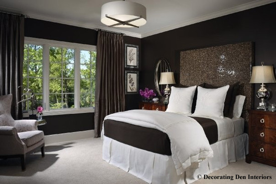 Elegance Dark Brown Paint Colors: Contemporary Bedroom Paint Dark Colors On Walls But It Can Have A Very Dramatic And Beautiful Affect