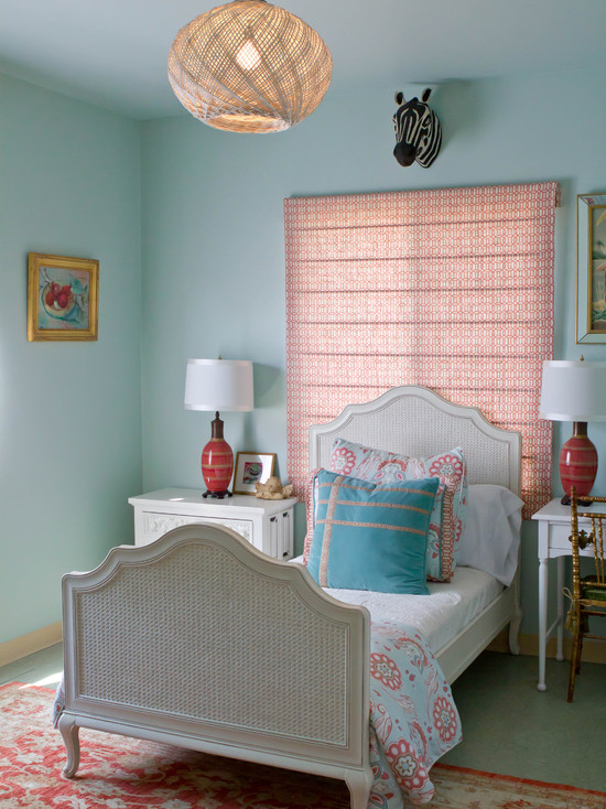 Beautiful Turquoise Girls Room: Contemporary Bedroom Pale Turquoise Mist Light Coral Accents