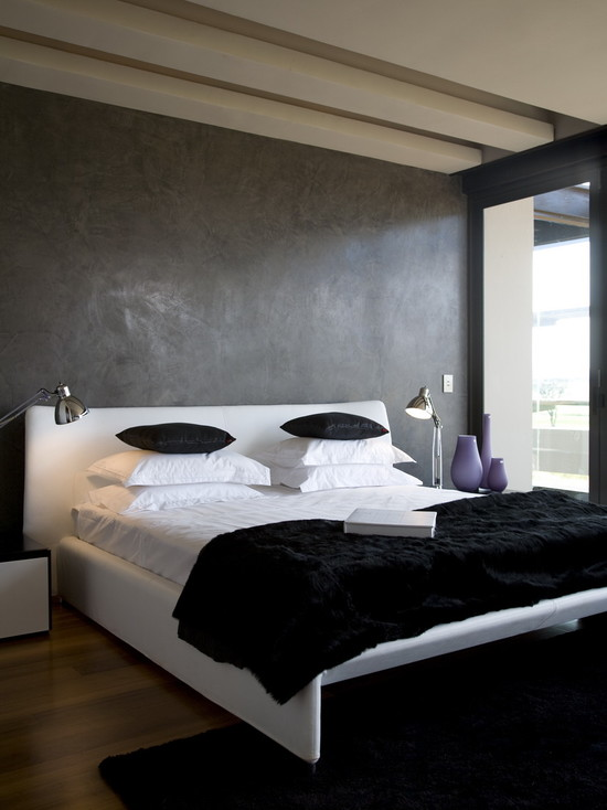 Various Textured Wall At Home Design : Contemporary Bedroom White Bed Pillow And Black Blanket Wooden Laminate Floor Black Fur Rug And Concrete Textures For Walls