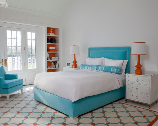 Apply Turquoise Bed Sheets For Amazing Bedroom : Contemporary Bedroom With Beautiful Turquoise Bed And The Pop Of Orange In The Shelves
