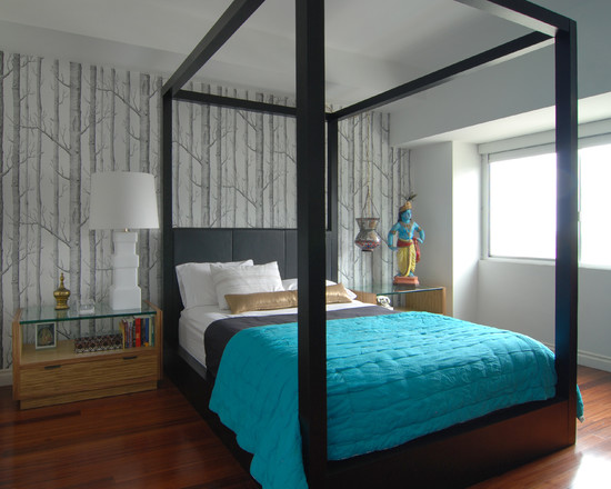 Apply Turquoise Bed Sheets For Amazing Bedroom: Contemporary Bedroom With Turquoise Bed Sheets And India Sculpture In The Corner  ~ stevenwardhair.com Bed Ideas Inspiration