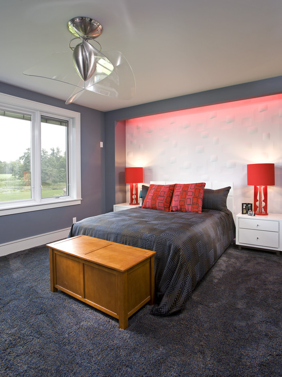 Cool Ceiling Fans With Lights: Contemporary Bedroom Wooden False Ceiling With Fantastic Fan Gray Rug