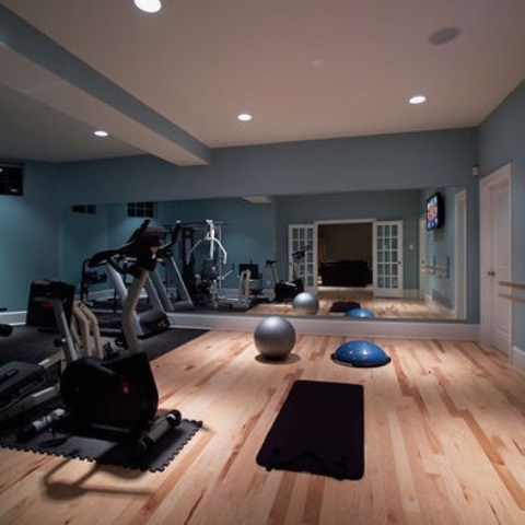 Inspiring Strategically Placed Gym In A Stylist Living Room: Contemporary Decoration For Your Home Gym Design Ideas Charming Floor Decoration Design Big Mirror Fitness Equipments