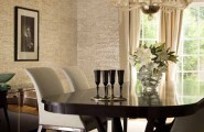 Beautiful Candice Olson Bathroom Designs : Contemporary Dining Room Dark Table With Light Colored Chairs Wallpaper By Candice Olson And Chandelier