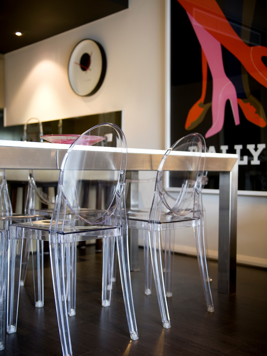 Outstanding Phillip Stark Ghost Chairs : Contemporary Dining Room With Amazing Philip Stark Louis Ghost Chairs Black Floorboards