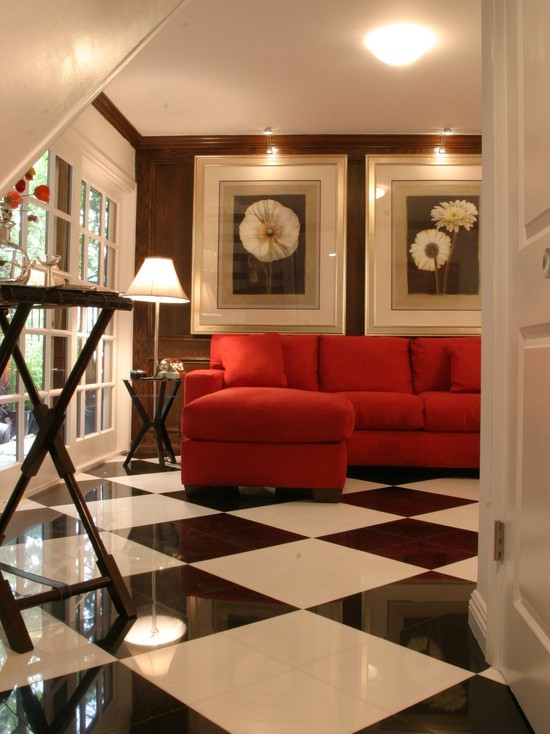Excellent Black And White Floor Tiles Ideas : Contemporary Family Room With Harlequin Black And White Floor Tiles L Shape Red Sofa