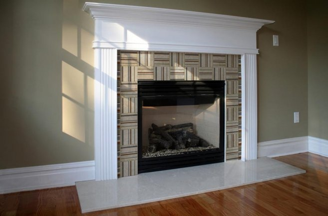 Sleek Stone Ornament for Modern Fireplace in Classic Villa : Contemporary Fireplace Design Using Stone Material Arrangement And Wooden Floor Marble Accent Stone Fireplace Designs