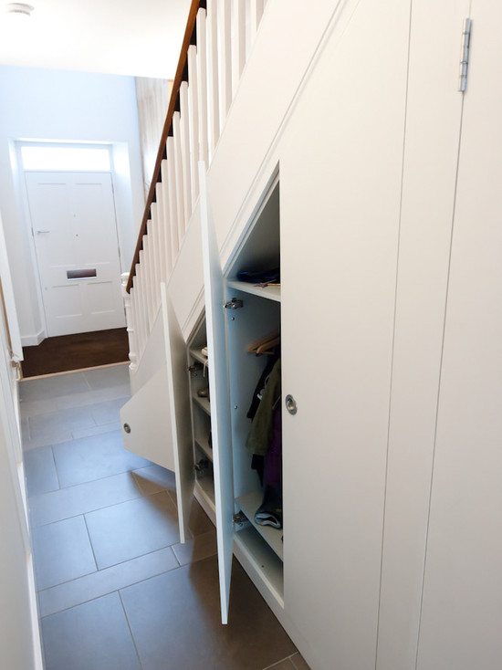 Awesome Understairs Shoe Storage Designs: Contemporary Hall With Under Stair Storage For Coat Closet And Shoes