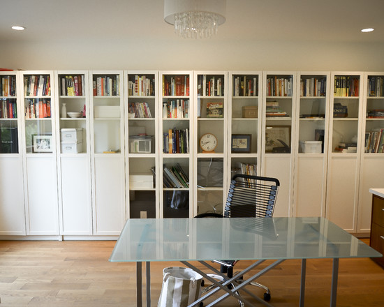 Extraordinary Ikea Bookshelves With Glass Doors : Contemporary Home Office Wall Of Book Storage With Doors Combination Of Translucent And Opaque Doors Glass Fronted Bookcases With Integrated Storage