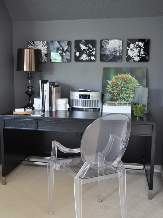 Outstanding Phillip Stark Ghost Chairs : Contemporary Home Office With The Louis Ghost Acrylic Chair Designed By Phillipe Starck For Kartell Plus Color Gray For Walls