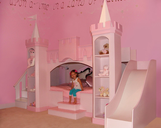 Amazing Kids Rooms Decorating Ideas For Girls: Contemporary Kids Pink Princess Bedroom Little Girls Love Princesses A Custom Girls Princess Castle Bed With Slide And Steps