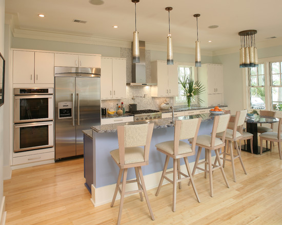 Interesting Bamboo Floor In Kitchen: Contemporary Kitchen Bamboo Wood Flooring Blue Island Marble Countertops Bar Stool Chairs
