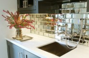 Interesting Small Beveled Mirror Tiles : Contemporary Kitchen Beveled Mirror Tiles Serve As A Statement Making Backsplash While Dark Plus Moody Cabinets In Cheating Heart