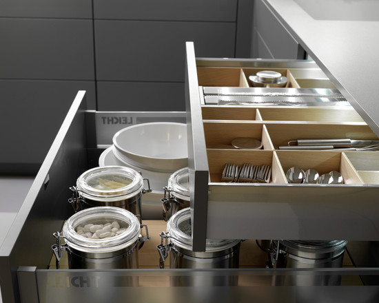 Amazing Kitchen Design With Drawer Inserts: Contemporary Kitchen Cabinets Pull Out Drawers For All Lower Cabinets Leicht Cabinets The Drawer Inserts For Utinsels