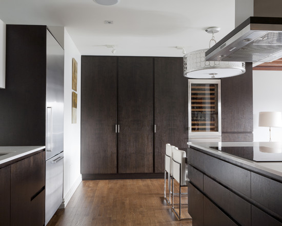 Contemporary Burnished Walnut Stain : Contemporary Kitchen With A Dark Stained Mahogany Mix With Walnut
