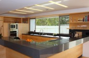 Excellent Kitchen Design With Recessed Lights : Contemporary Kitchen With L Shaped Counter For Informal Dining And Recessed Lighting Troughs And Huge Window Over Sink