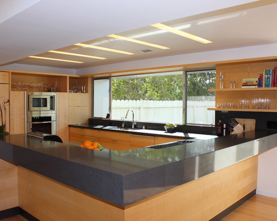 Excellent Kitchen Design With Recessed Lights: Contemporary Kitchen With L Shaped Counter For Informal Dining And Recessed Lighting Troughs And Huge Window Over Sink