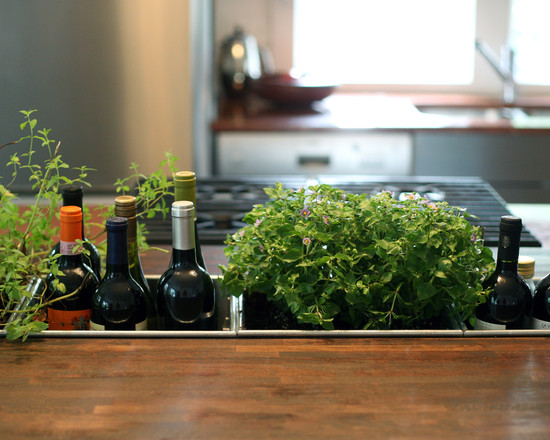 Inspiring Drying Rack For Herbs: Contemporary Kitchen With The Herbs Wine Built Into The Island Herb Planter Containers In The Kitchen