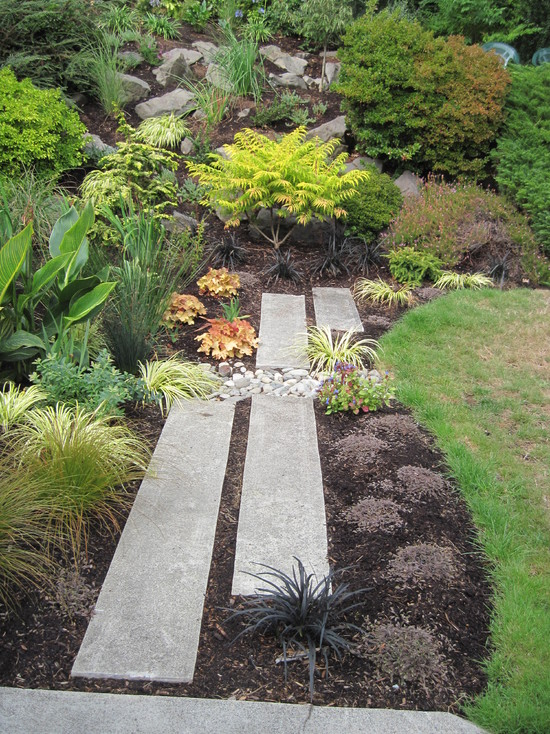 Enchanting Cement And Concrete Walkway Ideas : Contemporary Landscape Concrete Block River Stone Recycled Concrete Pavers