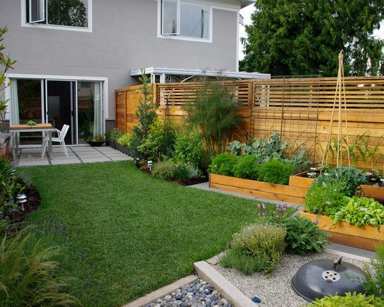 Simple Vegetable Garden Fencing ideas: Contemporary Landscape Multi Level Vegetable Beds And An In Ground Barbeque Pit Add Function To This Contemporary Vegetables Garden Space Wooden Beds And Wood Fence