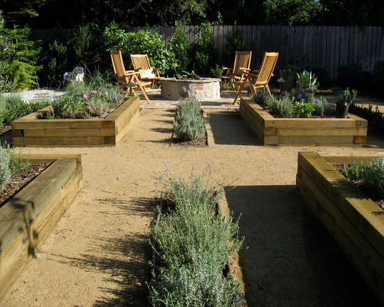 Timber For Captivating Raised Beds: Contemporary Landscape Raised Beds With Herbs In Middle And Big Timber Raised Wood Veggie Boxes ~ stevenwardhair.com Design & Decorating Inspiration