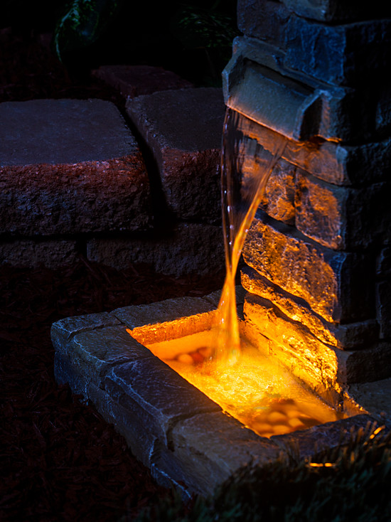 Beautiful Water Fountain Designs With Lights: Contemporary Landscape Stone Water Fountain LED Light