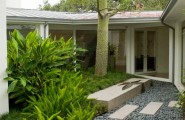 Fascinating River Rock Landscaping Pictures : Contemporary Landscape With Cut Stone And Grey River Rockwaterfeature In Rock Bench Smooth Rocks With The Precast Cement Tiles