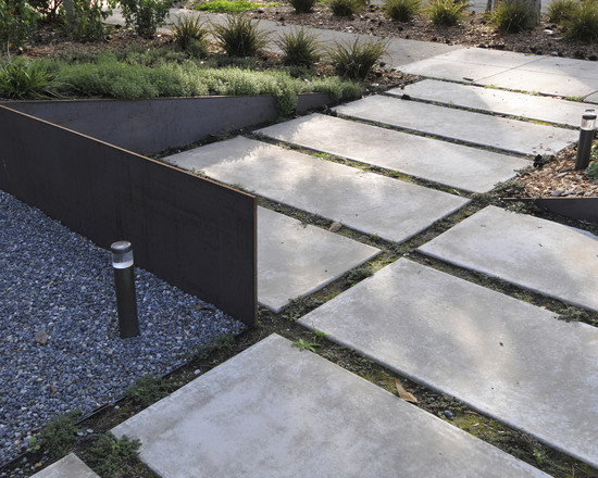 Enchanting Cement And Concrete Walkway Ideas: Contemporary Landscape With Segmented Concrete Walkway Gravel And Metal Combo ~ stevenwardhair.com Exterior Design Inspiration