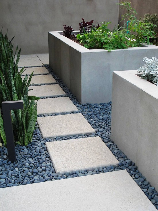 Interesting Large Outdoor Planter Boxes Designs: Contemporary Landscape With Square Pavers Concrete Rectangular Planter Boxes Garden Boxes And Path Tile Stone