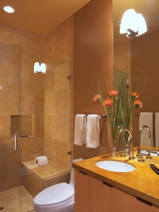 Use Large Bathroom Tiles: Contemporary Large Tiles Small Bathroom Is Comfortable Clean And Inviting With Good Color Choices ~ stevenwardhair.com Bathroom Design Inspiration