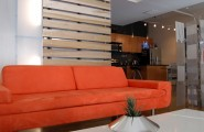 Amazing Simple Minimalist Wood Slats For Walls : Contemporary Living Room Striking Orange Sofa And Barrel And Slatted Poplar Wood Partition Walls With Light Transmitting Polycarbonate Panels Are Designed To Light Both Interior And Exterior