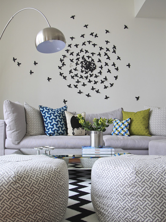 All Kinds of Cool Birdhouse Designs And Wallpaper : Contemporary Living Room With Twirl Of Birds Actually Cut From Paper And Mounted To The Wall Using Tacky Putty Custom Rug Milliken Black And White Techno Greek Key Ottomans